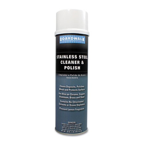 Boardwalk Stainless Steel Cleaner & Polish, Lemon, 18oz Aerosol (BWK347AEA)