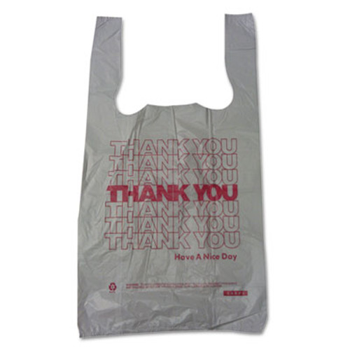 "Barnes Paper Company Plastic Thank You T-Sacks, 6"" x 4"" x 15"", 2 Mil, White (BPC 6415THYOU)"