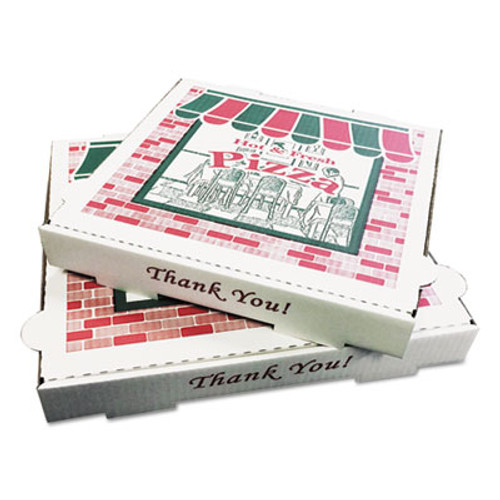 PIZZA Box Takeout Containers, 18in Pizza, White, 18w x 18d x 2h, 50/Bundle (BOX PZCORB18)