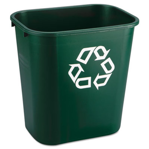 Rubbermaid Deskside Paper Recycling Container, Rectangular, Plastic, 7 gal, Green (RCP 2956-06 GRE)