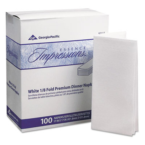 Georgia Pacific Essence Impressions 1/8-Fold Dinner Napkins, Two-Ply, 17 x 17, White (GPC 921-17)