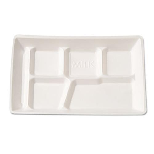 Genpak Foam School Tray, 6 Compartment, 12-1/2 x 8-1/2 x 1, White, 125/Bag (GNP 10600WH)