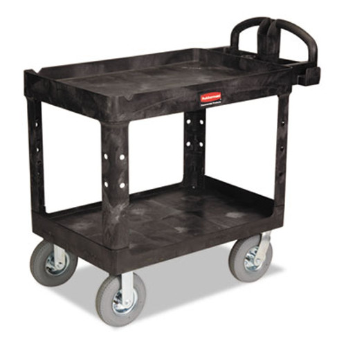 Rubbermaid Heavy-Duty Utility Cart, Two-Shelf, 25-7/8w x 45-1/4d x 37-1/8h, Black (RCP 4520-10 BLA)