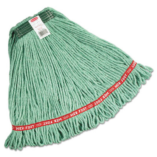 Rubbermaid Web Foot Wet Mops, Cotton/Synthetic, Green, Medium, 1-In Green Headband (RCP A112 GRE)