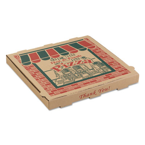 ARVCO Corrugated Pizza Boxes, 10w x 10d x 1 3/4h, Kraft, 50/Carton (ARV9104314)