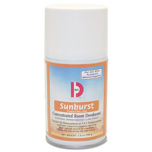 Big D Industries Metered Concentrated Room Deodorant, Sunburst Scent, 7 oz Aerosol, 12/Carton (BGD 464)