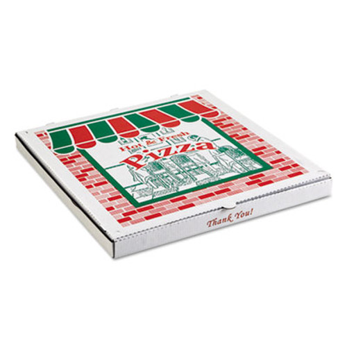 ARVCO Corrugated StoreFront Pizza Boxes, Kraft, 20 x 20, White/Red/Green, 25/Carton (ARV9204393)