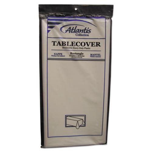 Atlantis Plastics Plastic Table Cover, Rectangular, 54 x 108, White, 12/Carton (ATL2TCW10812)