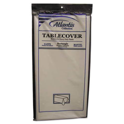 Atlantis Plastics Plastic Table Cover, Rectangular, 54 x 108, White, 12/Carton (ATL2TCW10812)