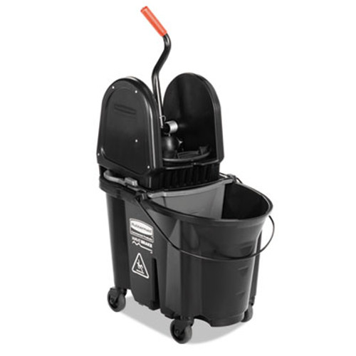 Rubbermaid Executive WaveBrake Down-Press Mop Bucket, Black, 35 Quart (RCP 1863898)