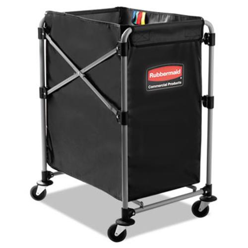 Rubbermaid Collapsible X-Cart, Steel, Four Bushel Cart, 20 1/3w x 24 1/10d, Black/Silver (RCP 1881749)