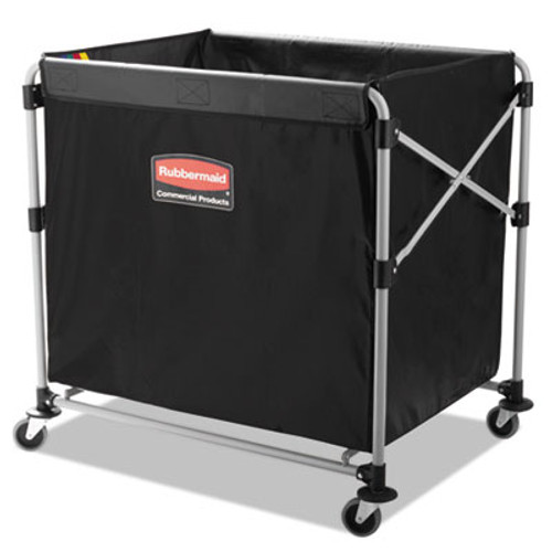 Rubbermaid Collapsible X-Cart, Steel, Eight Bushel Cart, 24 1/10w x 35 7/10d, Black/Silver (RCP 1881750)