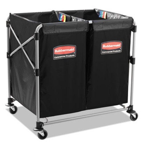 Rubbermaid Collapsible X-Cart, Steel, 2 to 4 Bushel Cart, 24 1/10w x 35 7/10d, Black/Silver (RCP 1881781)