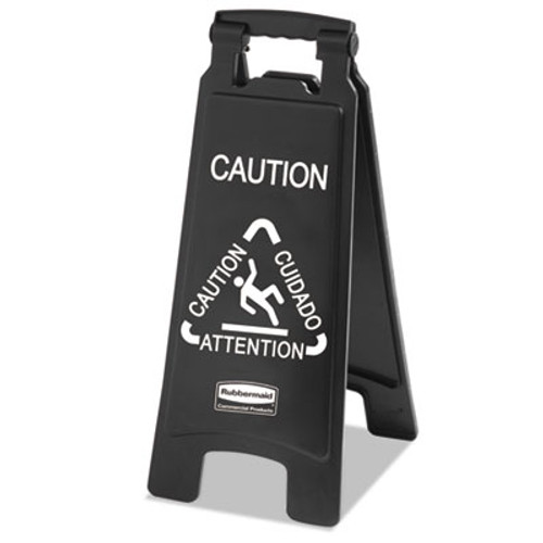 Rubbermaid Executive 2-Sided Multi-Lingual Caution Sign, Black/White, 10 9/10 x 26 1/10 (RCP 1867505)
