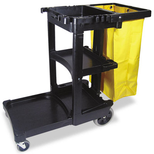 Rubbermaid Multi-Shelf Cleaning Cart, Three-Shelf, 20w x 45d x 38-1/4h, Black (RCP 6173-88 BLA)