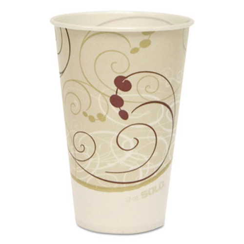 Dart Symphony Treated-Paper Cold Cups, 12oz, White/Beige/Red, 100/Bag, 20 Bags/Carton (SCC R12NSYM)