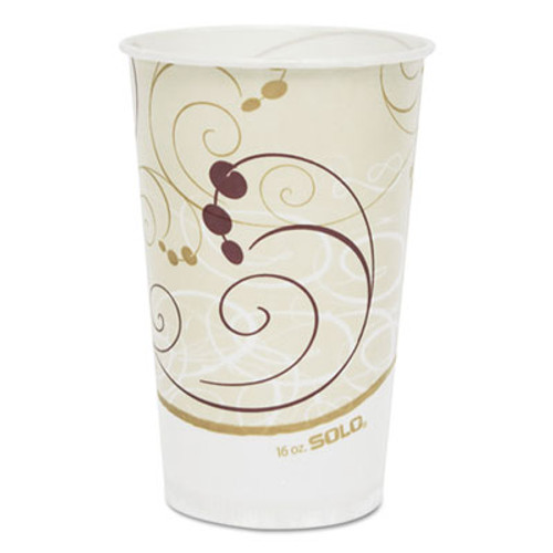 Dart Symphony Treated-Paper Cold Cups, 16oz, White/Beige/Red, 50/Bag, 20 Bags/Carton (SCC RW16SYM)
