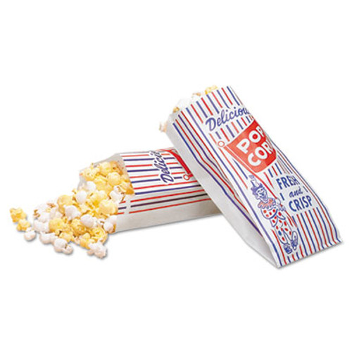 Bagcraft Pinch-Bottom Paper Popcorn Bag, 4w x 1-1/2d x 8h, Blue/Red/White, 1000/Carton (BGC 300471)