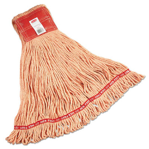 Rubbermaid Web Foot Wet Mop, Large, Orange w/Red Headband, Cotton/Synthetic Blend, 6/Carton (RCP A153 ORA)