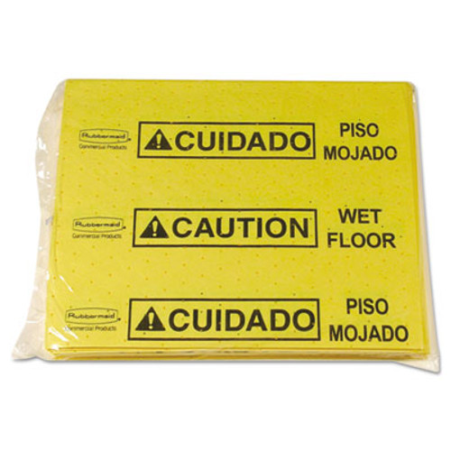 Rubbermaid Over-The-Spill Pad Tablet w/25 Pads, Yellow/Black,14 x 16 1/2 (RCP 4253 YEL)