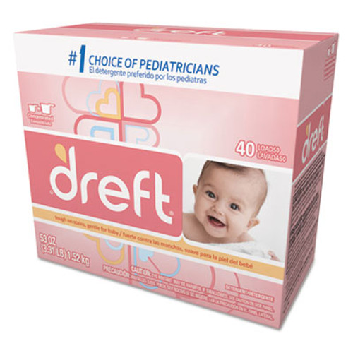 Dreft Ultra Powdered Laundry Detergent, Baby Powder Scent, 53 oz Box, 4/Carton (PGC 85882)