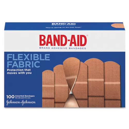 "BAND-AID Flexible Fabric Adhesive Bandages, 1"" x 3"", 100/Box (JON 4444)"