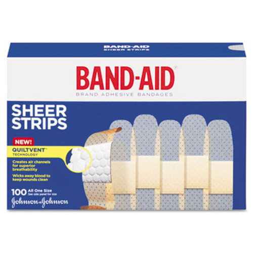 "BAND-AID Sheer Adhesive Bandages, 3/4"" x 3"", 100/Box (JON 4634)"