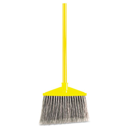 "Rubbermaid Angled Large Broom, Poly Bristles, 46 7/8"" Metal Handle, Yellow/Gray (RCP 6375 GRA)"
