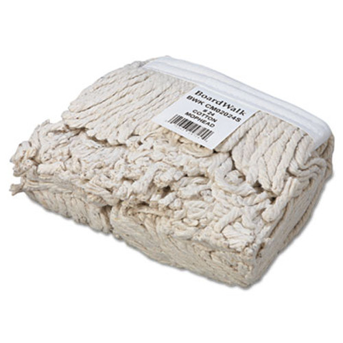 Boardwalk Banded Cotton Mop Head, #24, White, 12/Carton (BWK CM02024S)