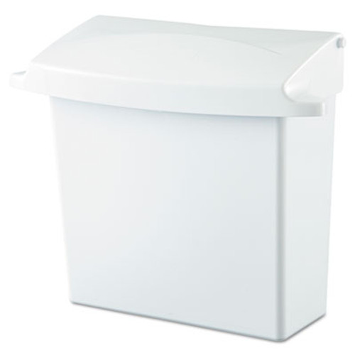 Rubbermaid Sanitary Napkin Receptacle with Rigid Liner, Rectangular, Plastic, White (RCP 6140 WHI)