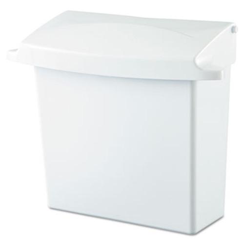 Rubbermaid Sanitary Napkin Receptacle with Rigid Liner, Rectangular, Plastic, White (RCP 6140 WHI)