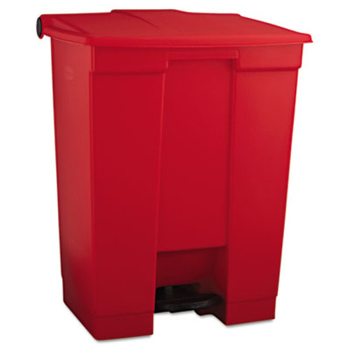 Rubbermaid Indoor Utility Step-On Waste Container, Rectangular, Plastic, 18gal, Red (RCP 6145 RED)