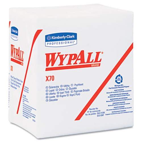 WypAll* X70 Wipers, 1/4-Fold, 12 1/2 x 12, White, 76/Pack, 12 Packs/Carton (KCC 41200)