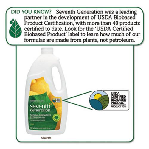 Seventh Generation Natural Automatic Dishwasher Gel, Lemon, 42 oz Bottle (SEV22171EA)
