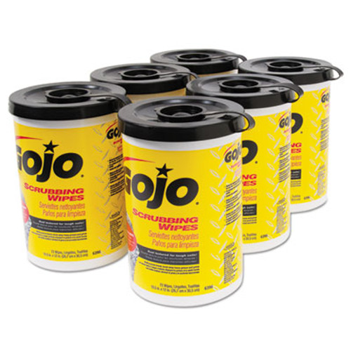 GOJO Scrubbing Towels, Hand Cleaning, Silver/Yellow,10.5x12.25, 72/Canister,6/Carton (GOJ 6396-06)