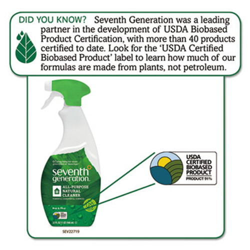 Seventh Generation Natural All-Purpose Cleaner, Free & Clear, 32 oz Spray Bottle (SEV22719EA)