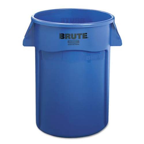 Rubbermaid Brute Vented Trash Receptacle, Round, 44 gal, Blue (RCP 2643-60 BLU)