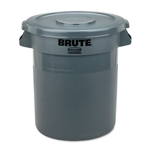 """Rubbermaid Round Flat Top Lid, for 10-Gallon Round Brute Containers, 16"""", dia., Gray (RCP 2609 GRA)"""