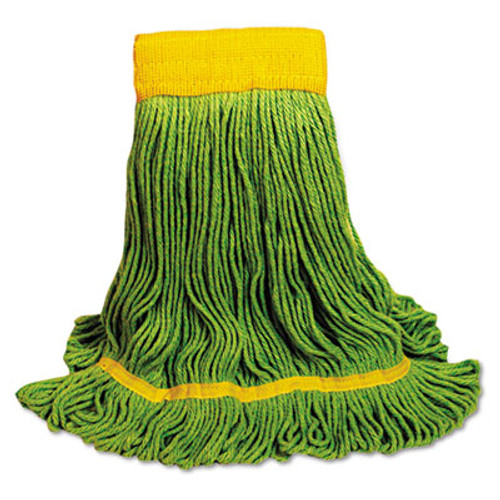 Boardwalk EcoMop Looped-End Mop Head, Recycled Fibers, Medium Size, Green, 12/Carton (UNS 1200M)