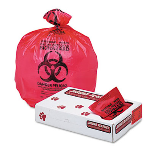 "Jaguar Plastics Health Care ""Biohazard"" Printed Liners, 1.3mil, 33 x 39, Red, 150/Carton (JAG IW3339R)"