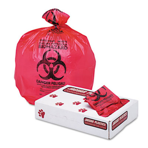 "Jaguar Plastics Health Care ""Biohazard"" Printed Liners, 1.3mil, 24 x 32, Red, 250/Carton (JAG IW2432R)"