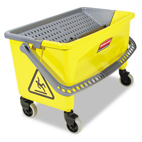 Rubbermaid HYGEN Press Wring Bucket for Microfiber Flat Mops, Yellow (RCP Q900-88)