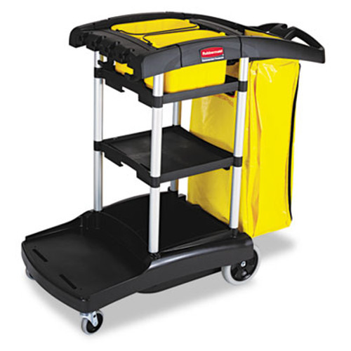 Rubbermaid High Capacity Cleaning Cart, 21-3/4w x 49-3/4d x 38-3/8h, Black (RCP 9T72)