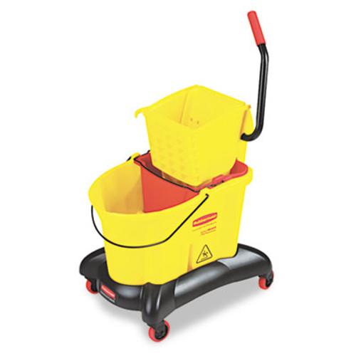 Rubbermaid Wavebrake 35 Qt Dual Water Side Press Mop Bucket & Wringer, Yellow (RCP 7680 YEL)