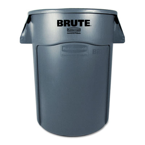 Rubbermaid Brute Vented Trash Receptacle, Round, 44 gal, Gray (RCP 2643-60 GRA)