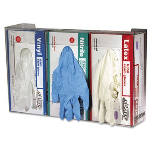 San Jamar Clear Plexiglas Disposable Glove Dispenser, Three-Box, 18w x 3 3/4d x 10h (SAN G0805)