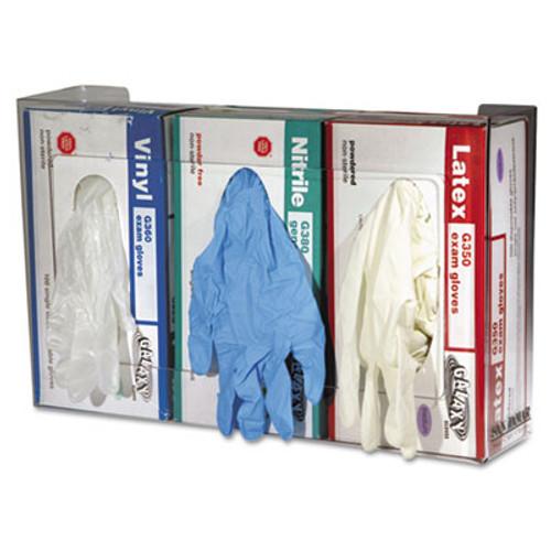 San Jamar Clear Plexiglas Disposable Glove Dispenser, Three-Box, 18w x 3 3/4d x 10h (SAN G0805)