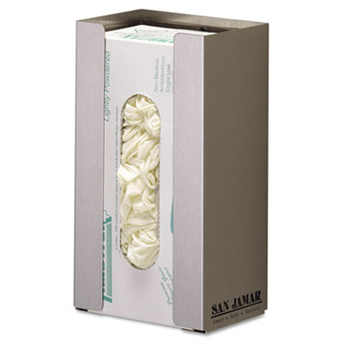 San Jamar Stainless Steel Disposable Glove Dispenser, Single-Box, 5 1/2w x 3 3/4d x 10h (SAN G0801)