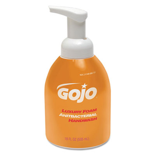 GOJO Luxury Foam Antibacterial Handwash, Orange Blossom, 18oz Pump, 4/Carton (GOJ 5762-04)