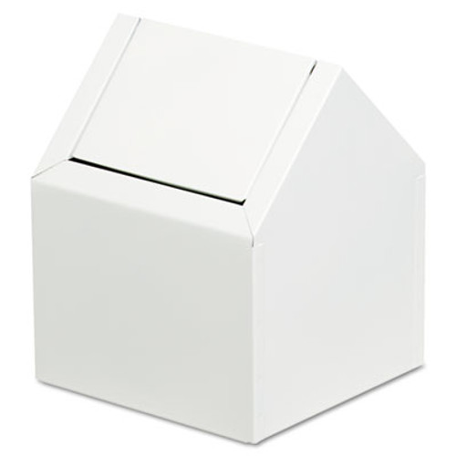 HOSPECO Double Entry, Swing Top Floor Receptacle, Metal, White (HOS 2201)